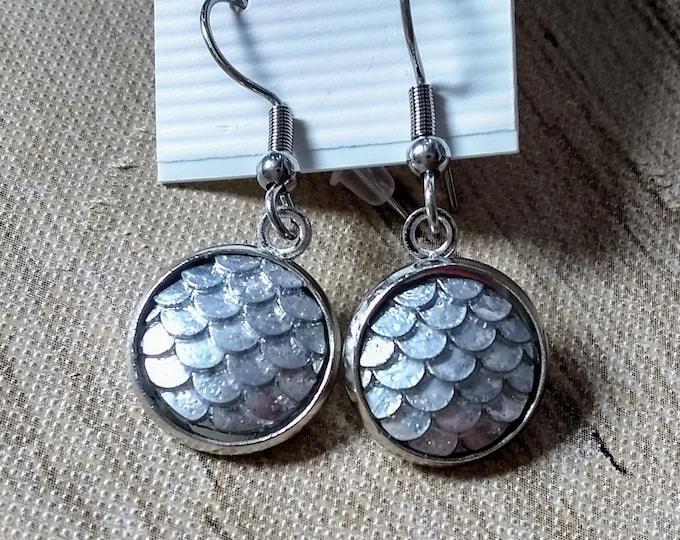 Mermaid Earrings - Mermaid Scales - Silver Mermaid Earrings