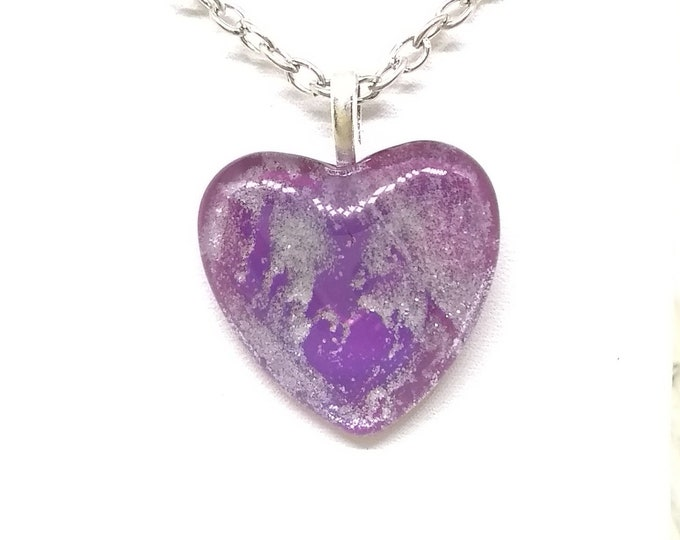 Heart Pendant - Heart Necklace - Purple Heart Necklace - Womens Gift - Girlfriends Gift - Love Gift