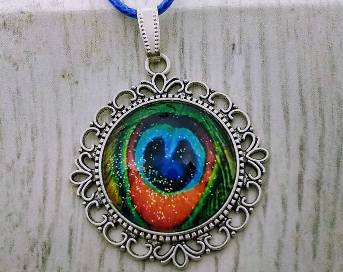 Peaccck Pendant - Peacock Necklace - Womans Gift - Mens Gift - Hand Made Necklace