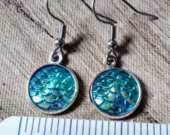 Mermaid Earrings - Mermaid Scales - Turquoise Earrings