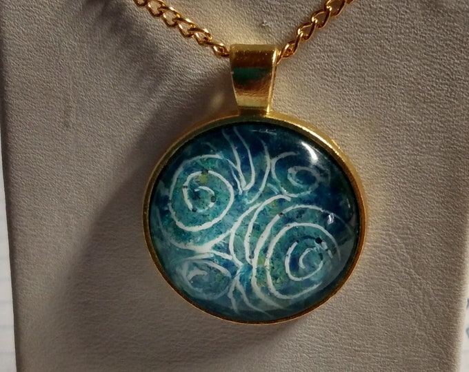 Swirl Necklace - Blue Pendant - Necklace - Statement Necklace