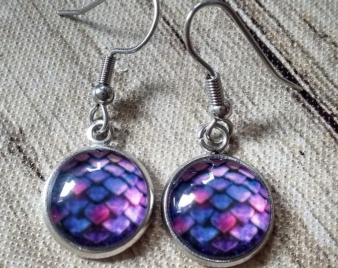 Dragon Scale Earrings - Dragon Scales - Purple Dragon Scales - Dragon Egg - Daenerys Egg