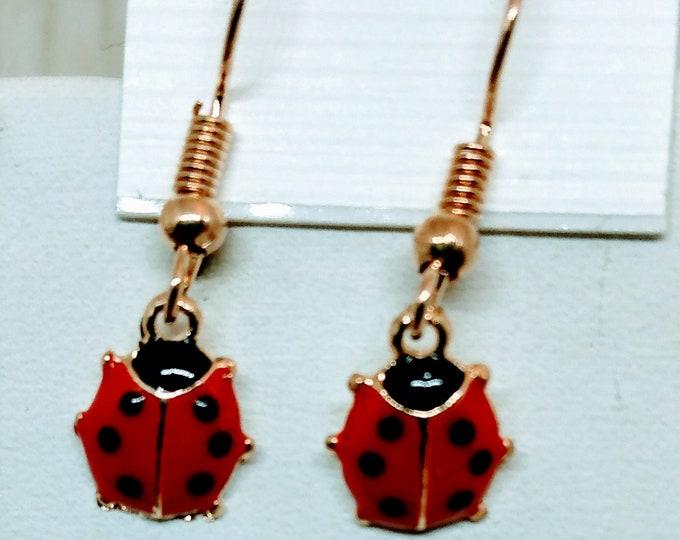 Lady Bug Earrings - Red Lady Bug Earrings