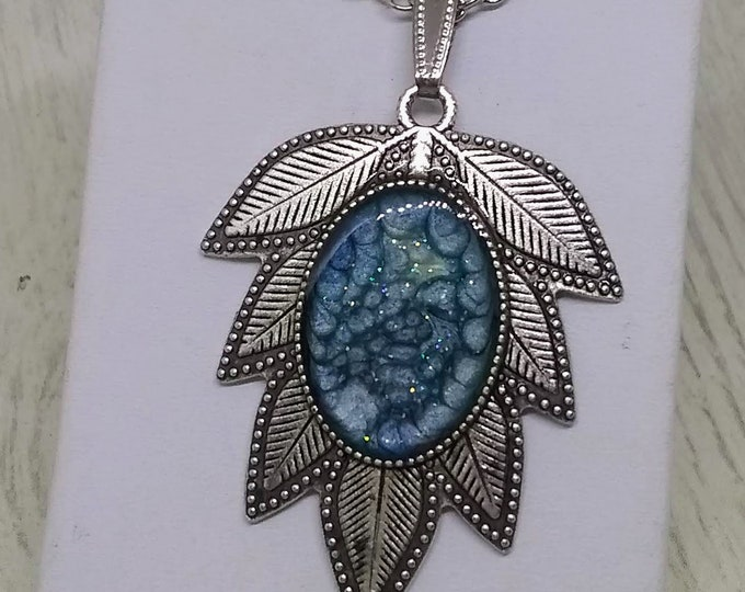 Leaf Necklace - Statement Necklace - Hand Made Necklace - Womans Gift - Blue Necklace