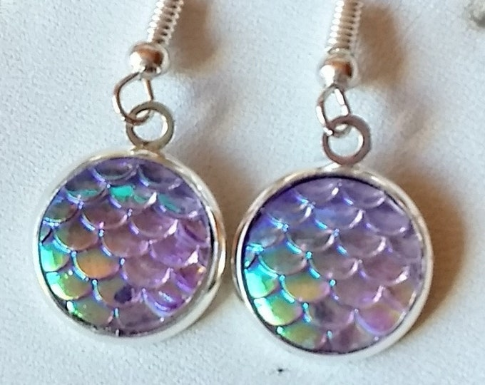 Mermaid Earrings - Mermaid Scales Earrings - Purple Earrings