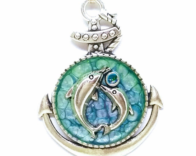 Dolphins Necklace - Dolphins Pendant - Anchor Pendant - Anchor Necklace - Nautical Necklace - Nautical Pendant