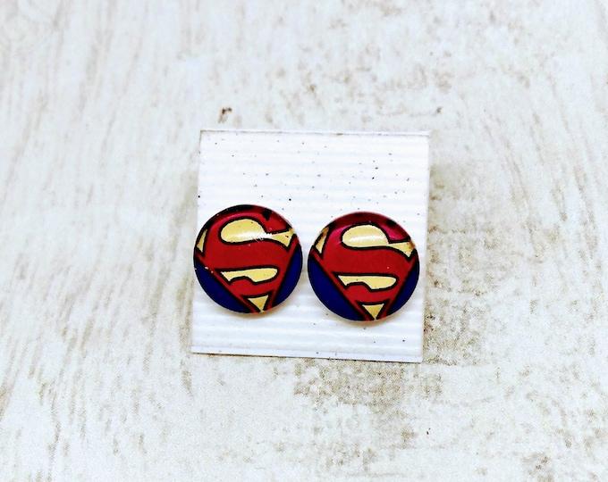 Superman Earrings - Comic Inspired Earrings - Superman Button Earrings