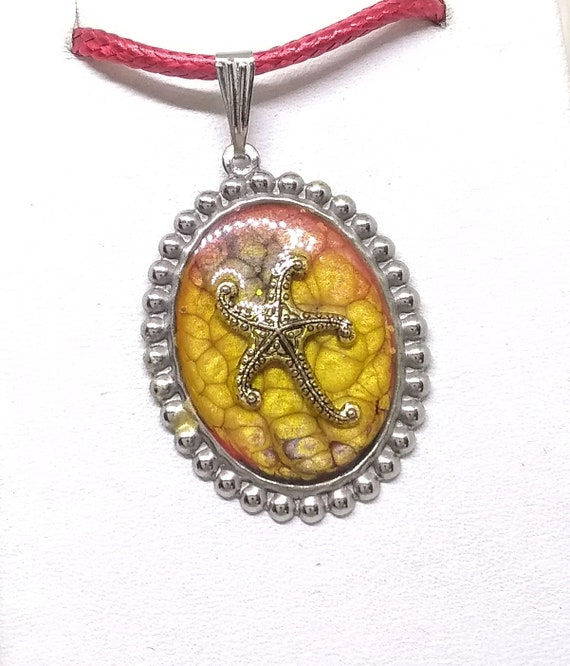 Starfish Necklace - Nautical Necklace - Sea Life Necklace - Statement Necklace - Starfish in Sand Necklace