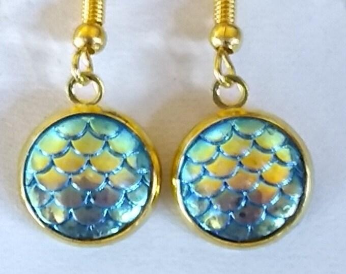 Mermaid Earrings - Mermaid Scales Earrings  - Turquoise Earrings