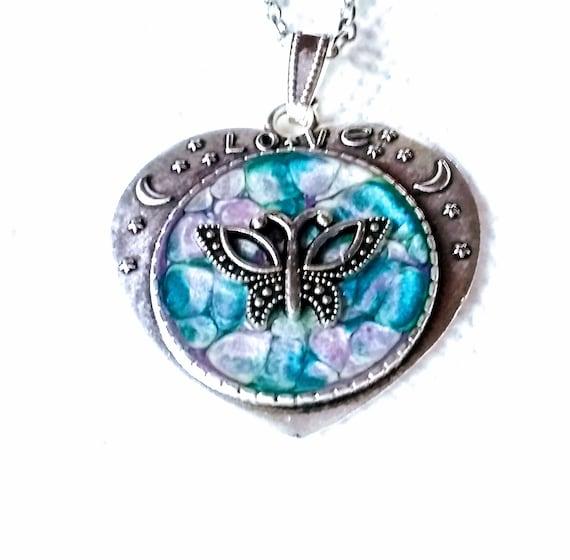 Butterfly Pendant - Butterfly Necklace - Heart Necklace - Love Necklace - Heart Necklace - Statement Necklace