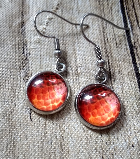 Dragon Scale Earrings - Dragon Scales - Orange Dragon Scales - Dragon Egg - Daenerys Earrings