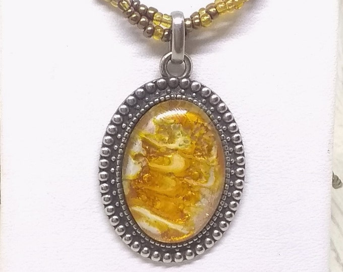Goldtone Pendant - Goldtone Necklace - Statement Necklace - Hand Painted Glass Necklace