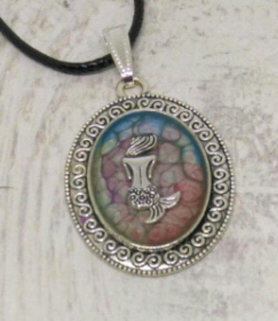 Mermaid Pendant - Mermaid Necklace - Hand Made Painted - Nautical Gift - Womans Gift