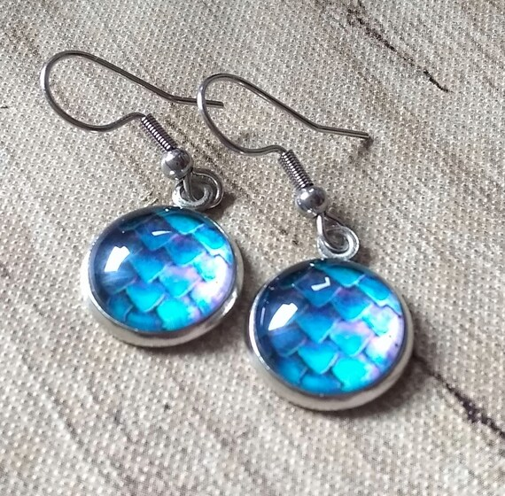 Dragon Scale Earrings - Dragon Scales - Blue and Purple Dragon Scales - Dragon Egg