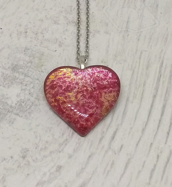 Heart Pendant - Heart Necklace - Pink Heart Neclace - Womens Gift - Girlfriends Gift - Love Gift