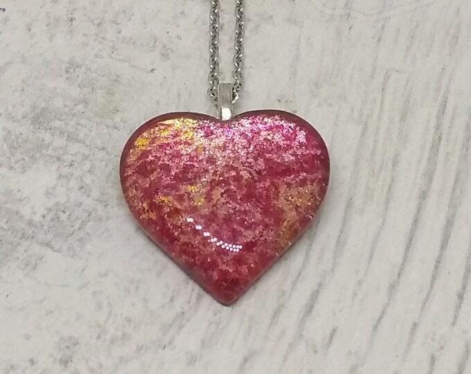 Heart Pendant - Heart Necklace - Pink Heart Neclace - Womens Gift - Girlfriends Gift - Love Gift