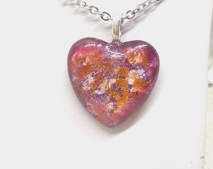 Heart Necklace - Hand Painted Heart - Watercolor Effect Necklace - Statement Necklace - Love Necklace