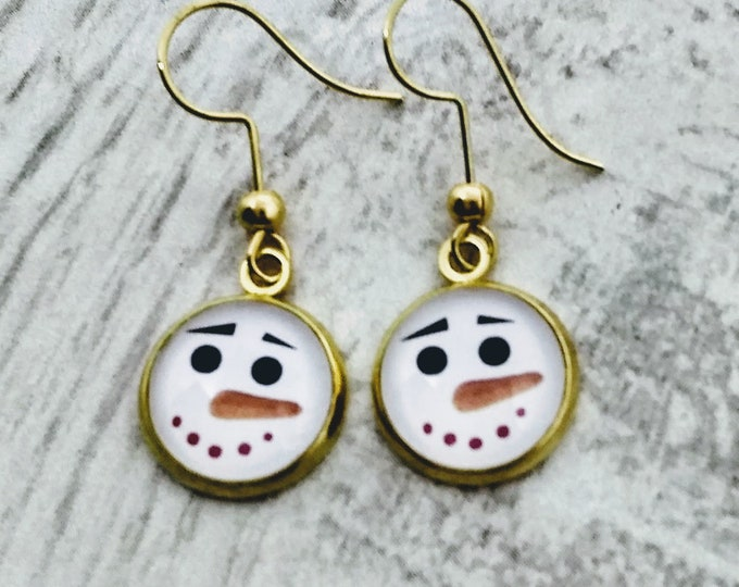 Snowman Earrings - Christmas Earrings - Hand Made Earrings