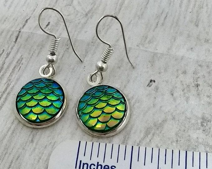 Mermaid Earrings - Mermaid Scales Earrings -  Green Earrings