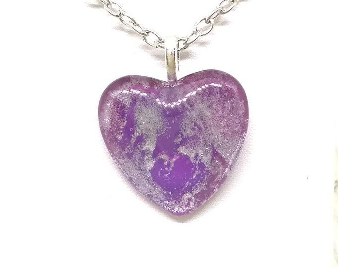 Heart Pendant - Heart Necklace - Purple Heart Necklace - Womens Gift - Girlfriends Gift - Love Gift