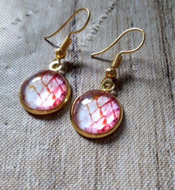 Dragon Scale Earrings - Dragon Scales - Pink Dragon Scales - Dragon Egg