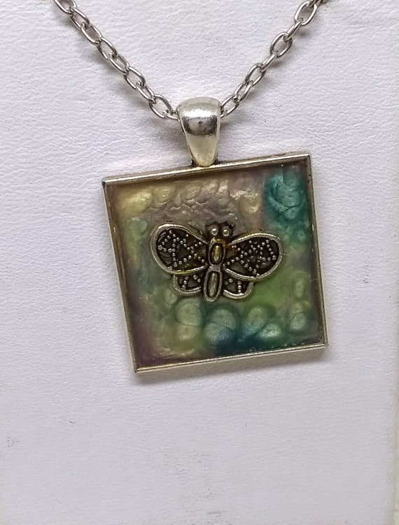 Butterfly Necklace - Painted Necklace - Nature Necklace