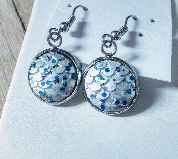 Mermaid Earrings - Mermaid Scales - Silver Mermaid Earrings