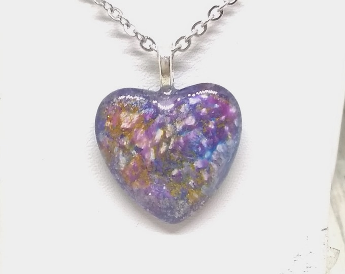 Heart Necklace - Hand Painted Heart - Watercolor Effect Neckace - Statement Necklace - Love Necklace