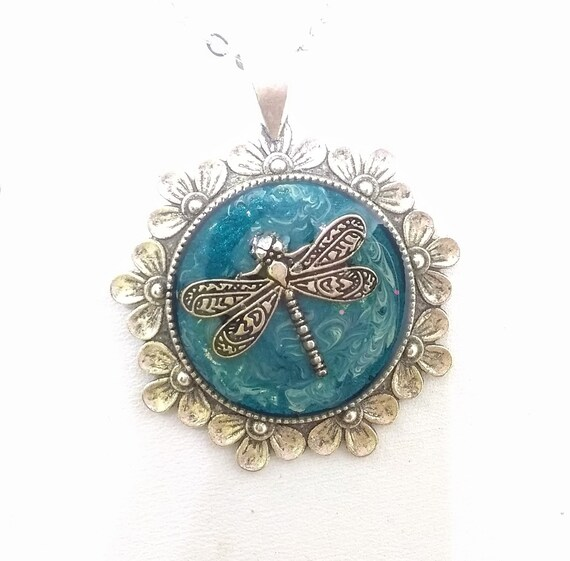 Dragonfly Necklace - Dragonfly Pendant - Floral Necklace - Floral Pendant - Dragonfly and Flowers