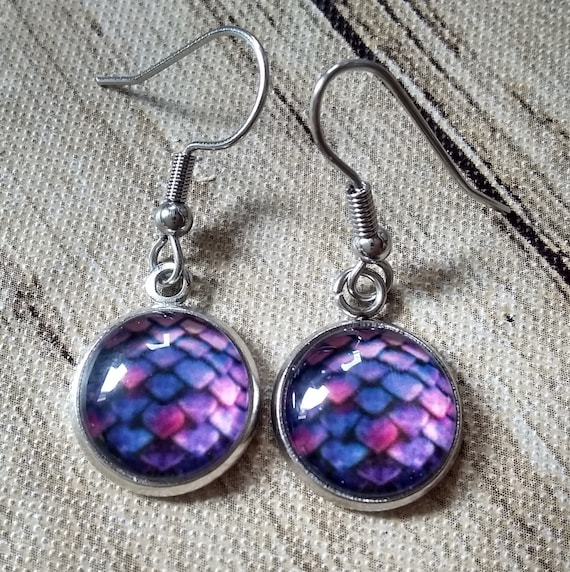Dragon Scale Earrings - Dragon Scales - Purple Dragon Scales - Dragon Egg - Daenerys Egg