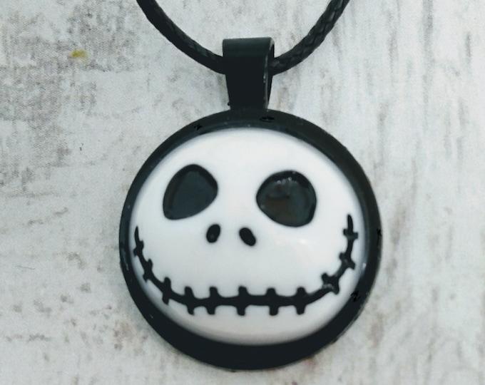 Jack Skellington Inspired Necklace - Nightmare Before Xmas Inspired Necklace - Skull Necklace - Halloween Necklace - Halloween Pendant