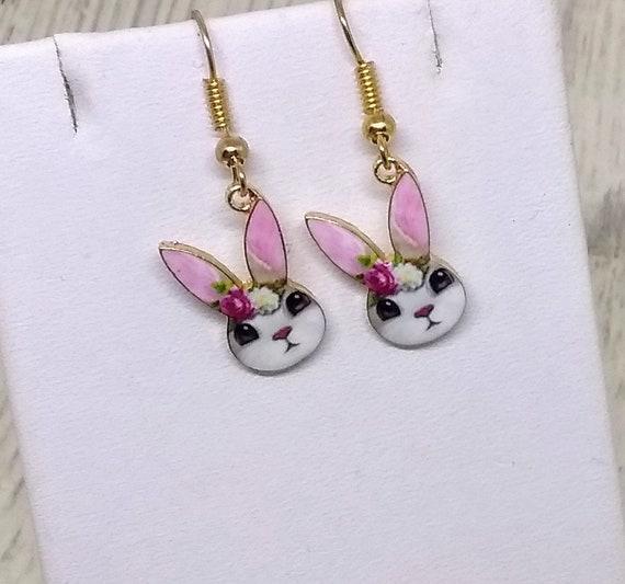 Cute Bunny Earrings - Rabbit Earrings - Easter Earrings - Bunny Earrings