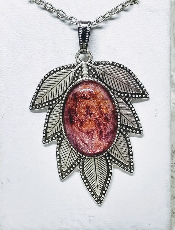 Leaf Necklace - Botanical Necklace - Pink Necklace - Painted Necklace - Statement Necklace