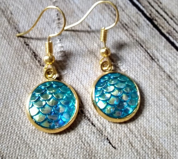 Mermaid Scale Earrings - Mermaid Scales - Turquoise Merced Scales - Mermaid Earrings