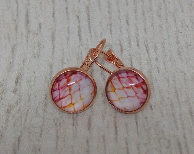 Dragon Scale Earrings - Pink Dragon Scale Earrngs - Dragon Scale Earrings with Rose Gold Tone Settings