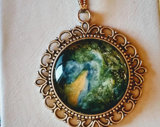 Hand Painted Pendant - Glass Pendant - Green Pendant - Statement Necklace -
