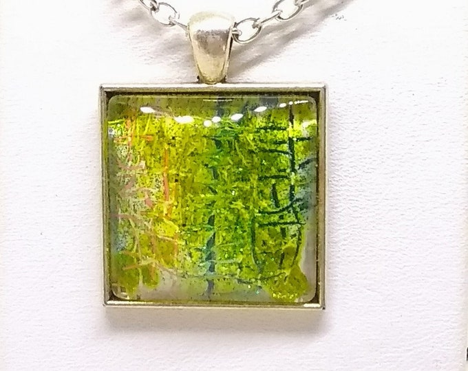 Green Pendant - Green Necklace - Hand Painted Pendant - Square Pendant