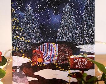 Christmas Greetings Card- 'Santa Stop Here'