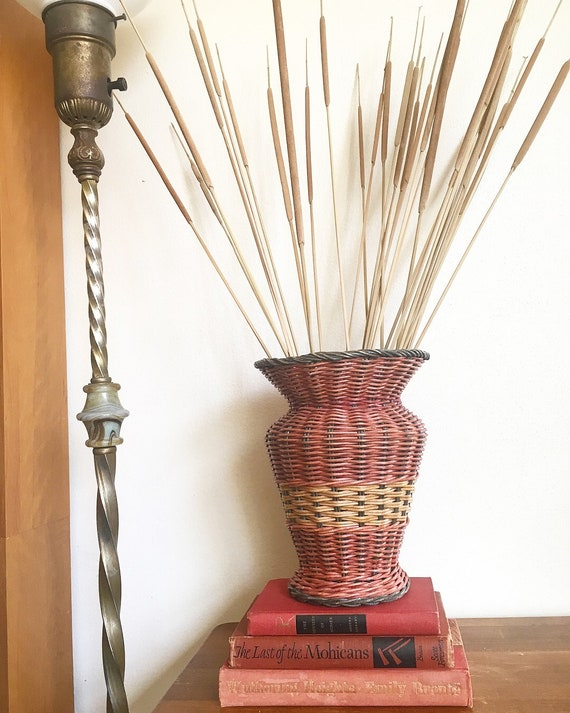 Clearance Vintage Large Woven Wicker Floor Vase Urnred Etsy