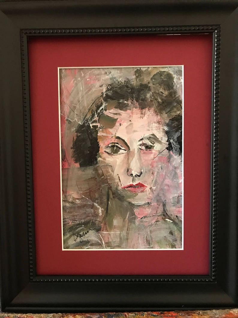 PENCHANT FOR PINK  Original framed acrylic portrait with red image 0