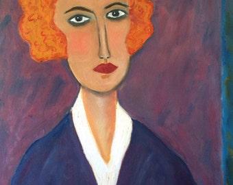 MODIGLIANI MOMENT - original acrylic and oil portrait painting