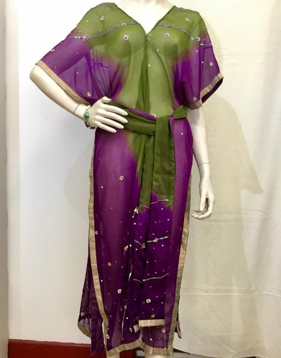 Robe sequin vert et violet femmes taille moyenne kimono   Etsy 878e63ff855