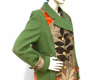 Women's autumn green coat, size 18, double breasted, patchwork jacket, furnishing fabric, OOAK, handmade in UK, warm jacket, wood buttons