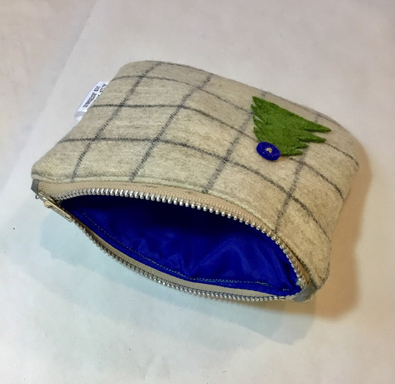 tartan check wool pouch christmas gift Christmas tree gift for her. Small zip purse royal blue lining 100/% wool lined coin purse