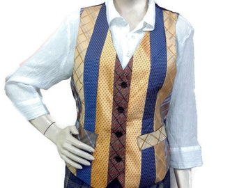 Womens waistcoat, size 12-14, upcycled ties, ethical fashion, mens neckties, vest, handmade, ethical clothing, unique gift,
