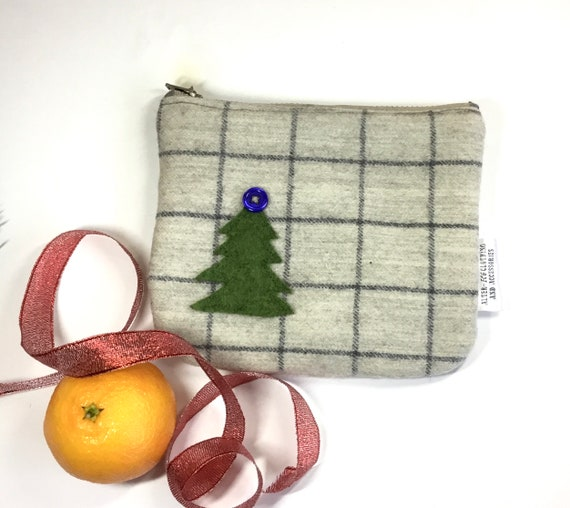 purse with Christmas decoration padded pouch birthday gift holly Christmas present Zipped purse phone pouch tartan purse