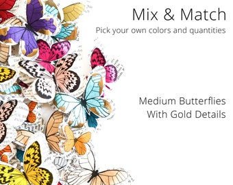 Medium decorative butterflies with gold details, Mix and Match. Paper butterflies for enchanted forest birthday party decorations