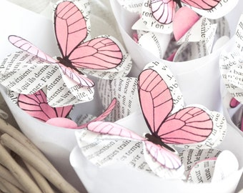 Butterfly backdrop for enchanted forest party decorations, pink paper butterflies for fairy woodland baby shower, 3d wall art for nursery