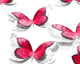 Red paper butterflies for fairy birthday party, woodland nursery decor, toddler room decor girl, boho wedding shower decorations