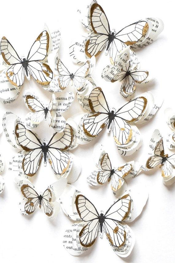 Papillons Blancs Et Or Papillon Decoration Chambre Deco Etsy
